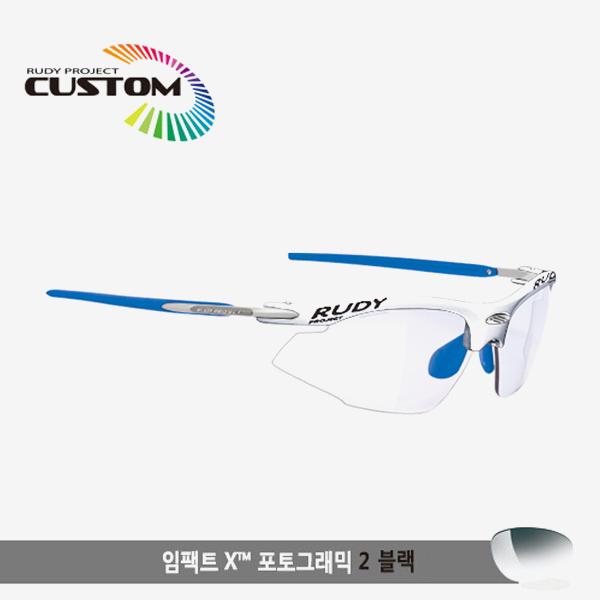 루디프로젝트 RUDY PROJECT/라이돈 커스텀 화이트레이싱 블루 팁/포토크로믹 2 블랙G타입/SN797324BUG/RYDON CUSTOM RACING BLUE TIP/IMPACT X PHOTOCHROMIC2 BLK G
