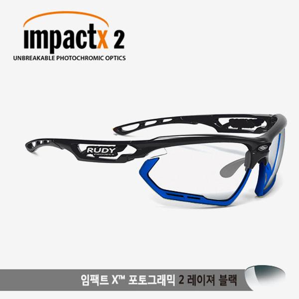 루디프로젝트 RUDY PROJECT/포토닉 커스텀 블랙 글로스/임팩트X2 레이저블랙 미러변색렌즈-블루 범퍼 /sp457842bu/FOTONYK CUSTOM BLK GLOSS/IMPACT X PHOTOCHROMIC2 LASER BLACK-BLUE BUMPER